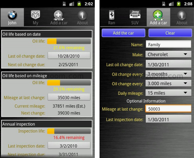 Car maintenance reminder - Screen Shot