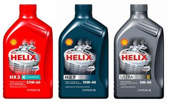 Exemplos de óleos mineral (Helix HX3), semi-sintético (HX7) e sintético (Ultra) produzidos pela Shell. Obser</a><p class=